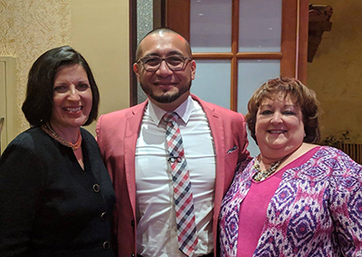Juan Martinez pictured with Brookdale CEO Cindy Baier (left) and Mary Sue Patchett (right).